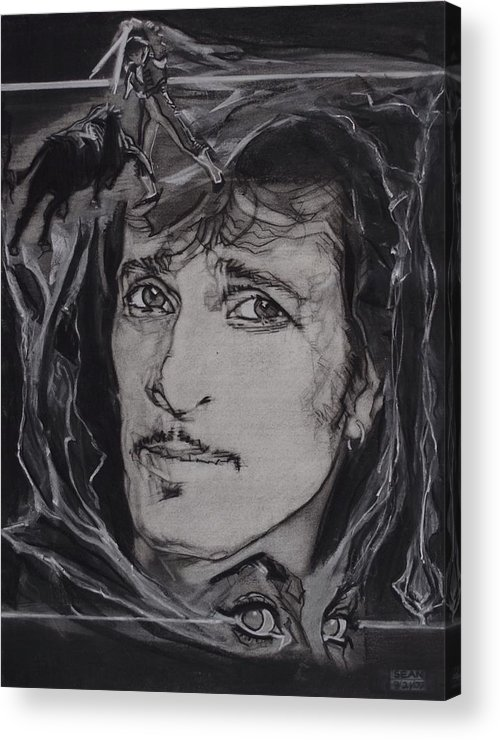 Charcoal On Paper Acrylic Print featuring the drawing Willy DeVille - Coup de Grace by Sean Connolly