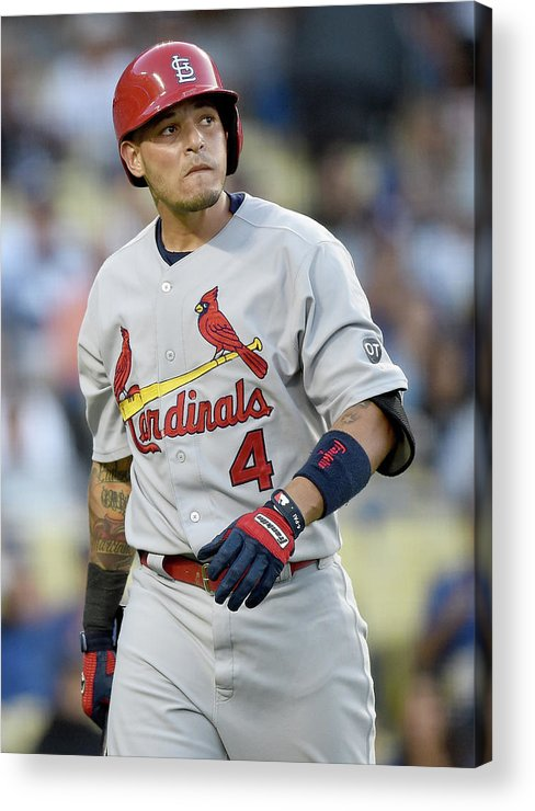 St. Louis Cardinals Acrylic Print featuring the photograph Yadier Molina by Harry How