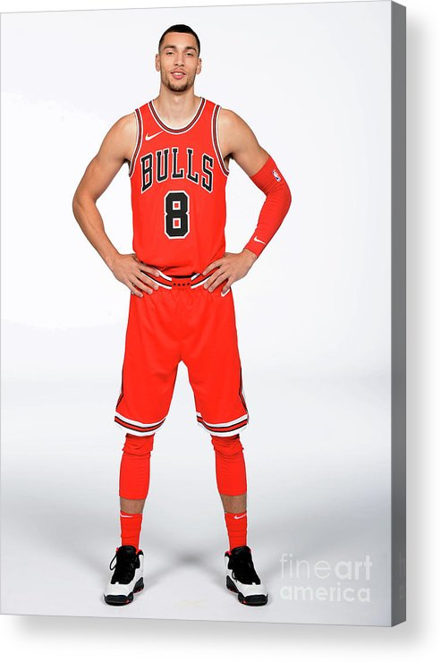 Media Day Acrylic Print featuring the photograph Zach Lavine by Randy Belice