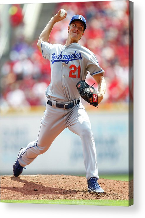 Great American Ball Park Acrylic Print featuring the photograph Zack Greinke by Michael Hickey