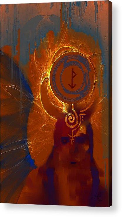 Spiritual Acrylic Print featuring the digital art Blazzing Wisdom Through Odins Essence by Stephen Lucas