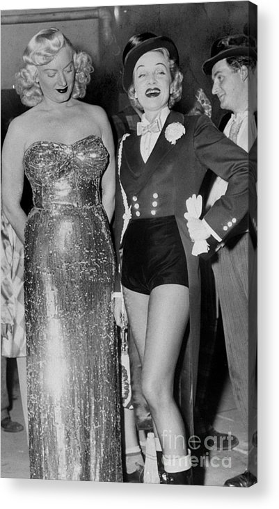 Charity Benefit Acrylic Print featuring the photograph Guest Ring Mistress Marlene Dietrich by New York Daily News Archive