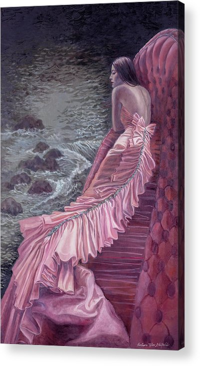Fashion Acrylic Print featuring the painting Pink Taffeta by Barbara Tyler Ahlfield