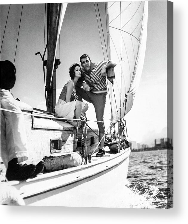 Outdoors Acrylic Print featuring the photograph Models On A Sailboat by Richard Waite