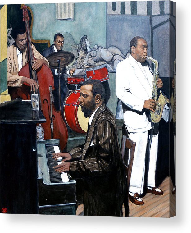 Musicans Acrylic Print featuring the painting Bebop 'til You Drop by Tom Roderick