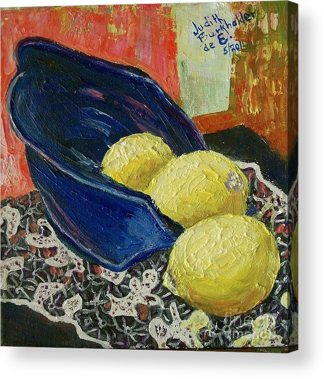 Bowl Acrylic Print featuring the painting Blue Bowl with Lemons - SOLD by Judith Espinoza