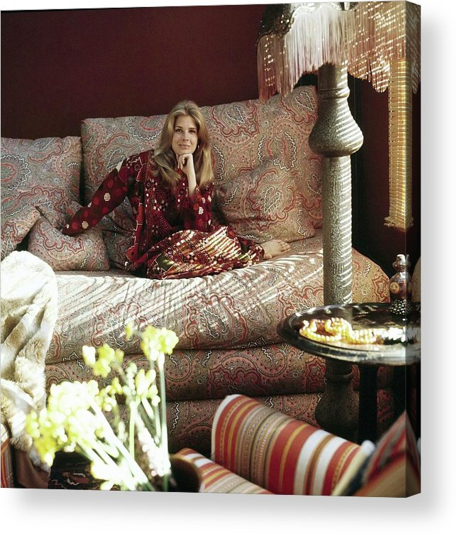 Home Acrylic Print featuring the photograph Candace Bergen In Caftan by Henry Clarke