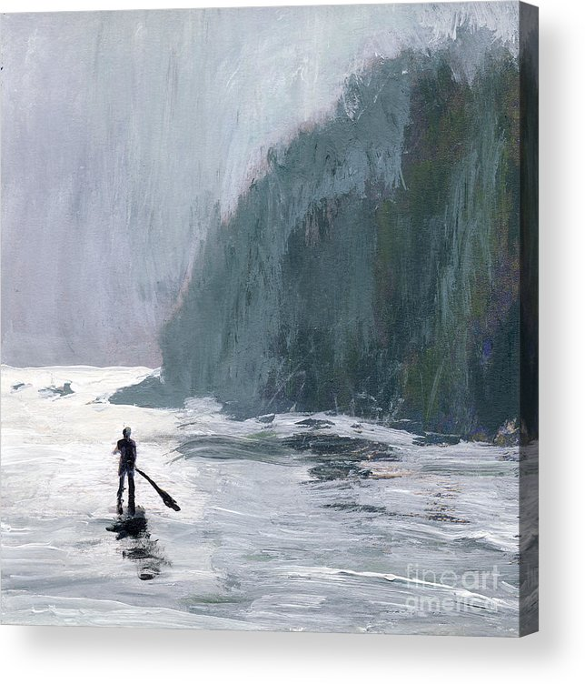 California Acrylic Print featuring the painting Catalina Paddle Board by Randy Sprout