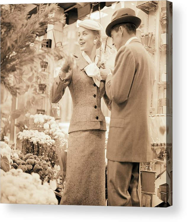 Outdoors Acrylic Print featuring the photograph Couple At Flower Market by Horst P. Horst