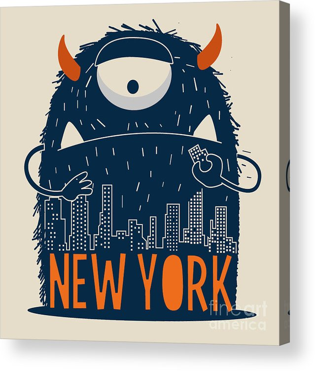 Symbol Acrylic Print featuring the digital art Cute Monster Vector Character Design by Braingraph