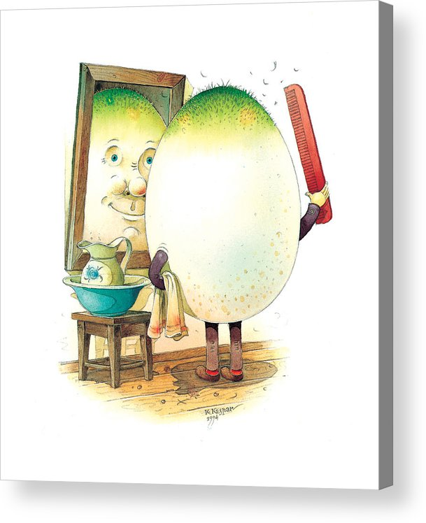 Easter Morning Eggs Spring Green Bathroom Acrylic Print featuring the painting Eastereggs 06 by Kestutis Kasparavicius