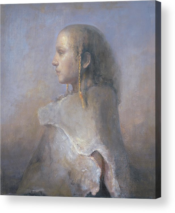 Oil Acrylic Print featuring the painting Helene In Profile by Odd Nerdrum