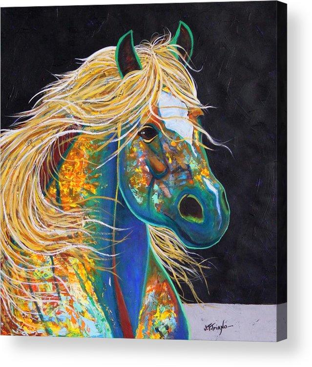 Wildlife Acrylic Print featuring the painting Rainbow Warrior - Mestengo by Joe Triano