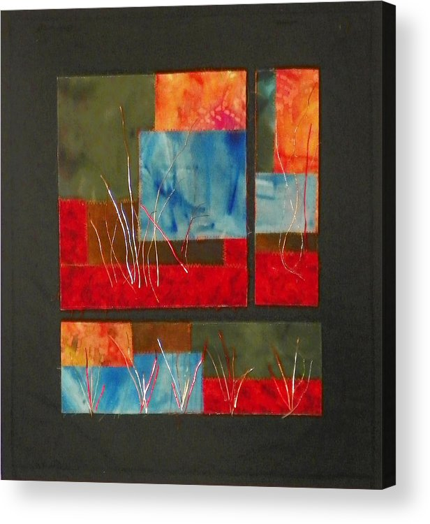 Nature Acrylic Print featuring the mixed media Reeds by Jenny Williams