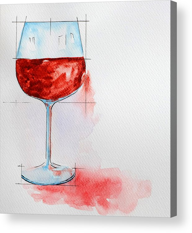 Wine Glass Painting With Watercolor Acrylic Print By Thewet Nonthachai