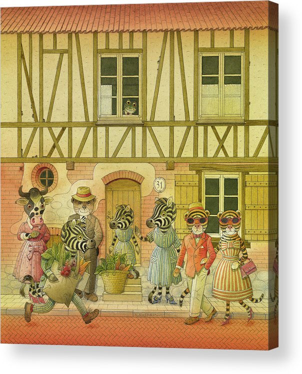 Striped Zebra Animals Cow Bear Tigers Street Old Town House Illustration Children Book Acrylic Print featuring the painting A Striped Story08 by Kestutis Kasparavicius