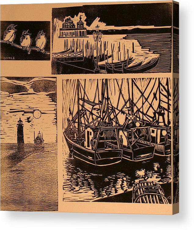 Acrylic Print featuring the print Composite of four woodcuts by Biagio Civale