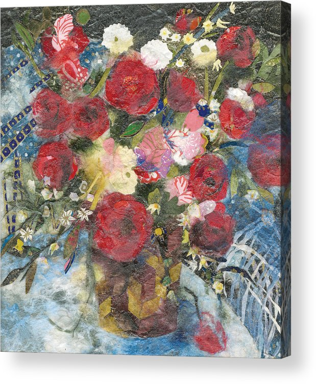 Limited Edition Prints Acrylic Print featuring the painting Flowers in a basket by Nira Schwartz
