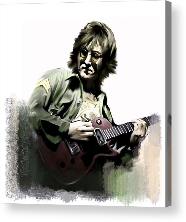 John Lennon Acrylic Print featuring the painting John Lennon Instant Karma Too by Iconic Images Art Gallery David Pucciarelli