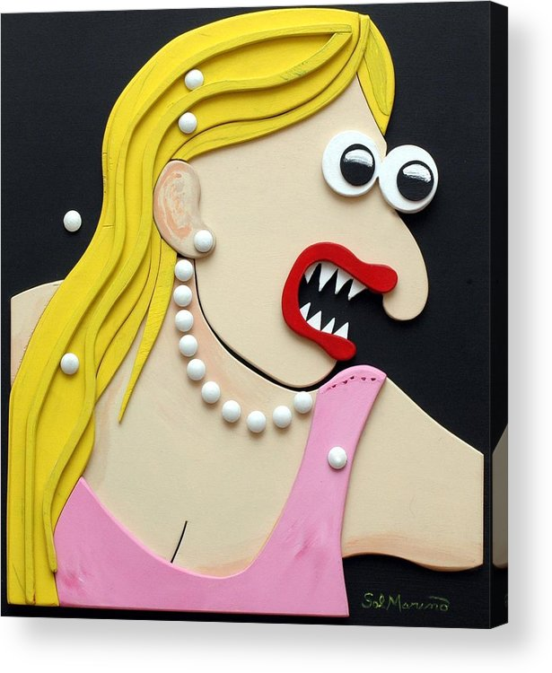 Funism Acrylic Print featuring the sculpture Pearl Necklace by Sal Marino