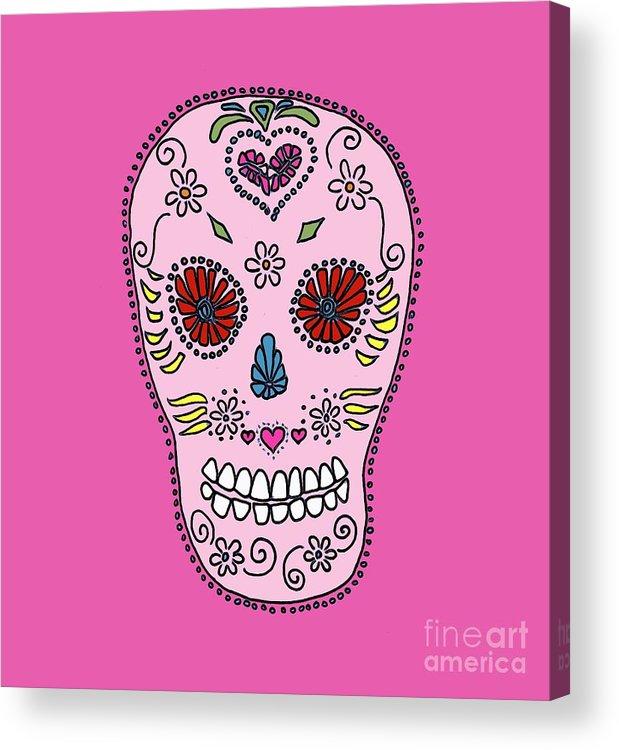 Sugar Acrylic Print featuring the digital art Pink Sugar Skull by Edward Fielding