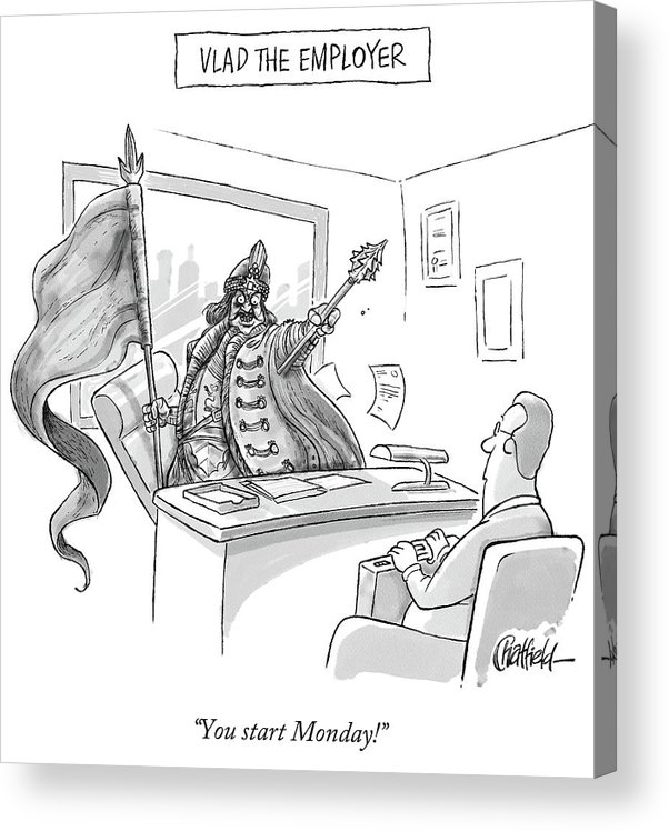 Monday Acrylic Print featuring the drawing Vlad the Employer by Jason Chatfield