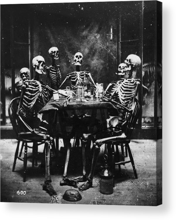Smoking Acrylic Print featuring the photograph Deathly Diners by London Stereoscopic Company