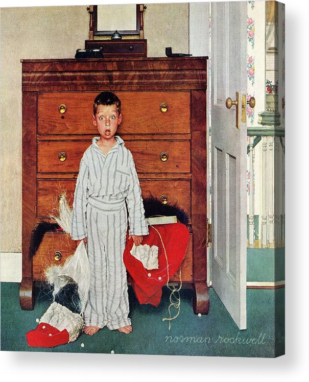Bedrooms Acrylic Print featuring the drawing Discovery by Norman Rockwell