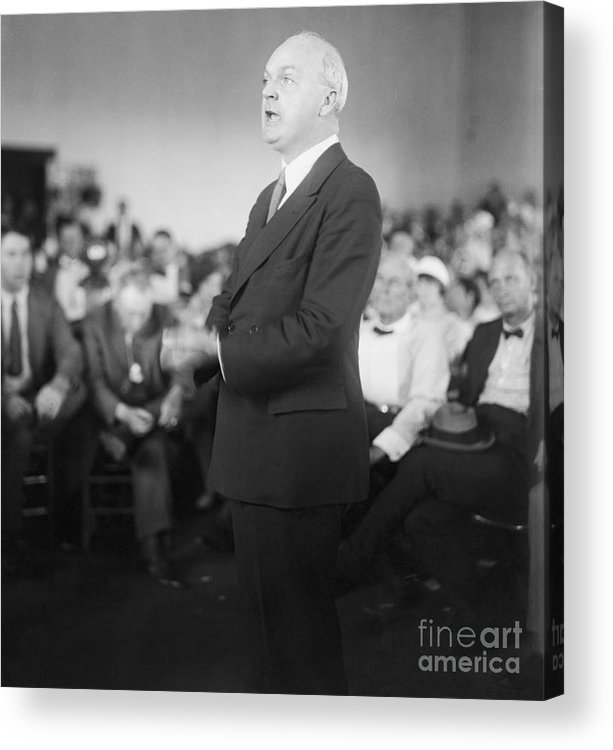 People Acrylic Print featuring the photograph Dudley Field Malone Delivering Speech by Bettmann