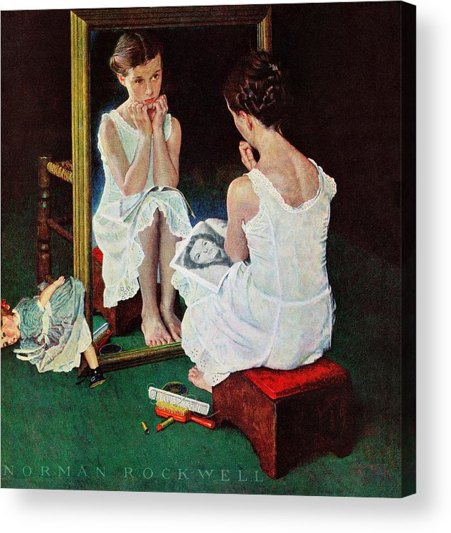 Actresses Acrylic Print featuring the drawing Girl At The Mirror by Norman Rockwell