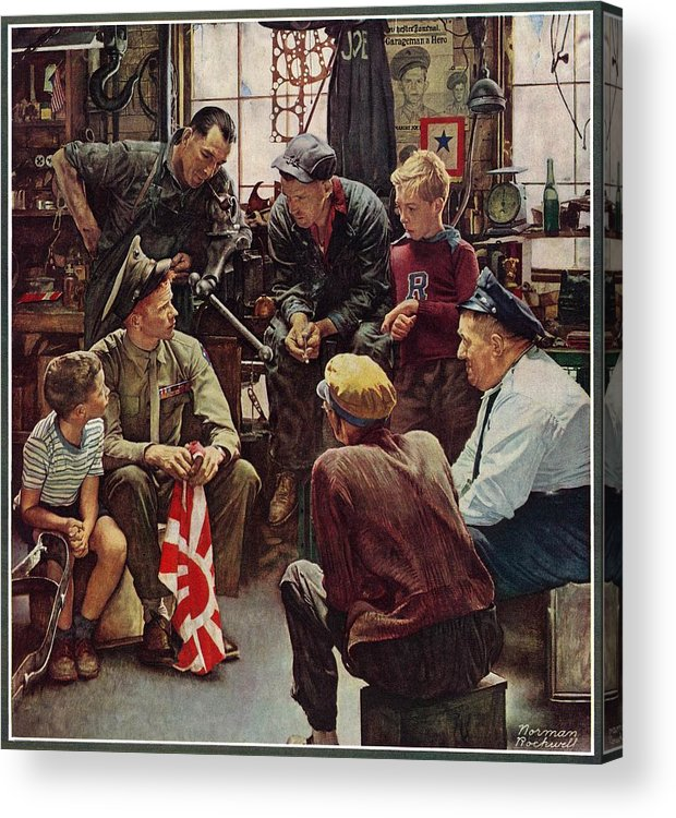Flags Acrylic Print featuring the drawing Homecoming Marine by Norman Rockwell