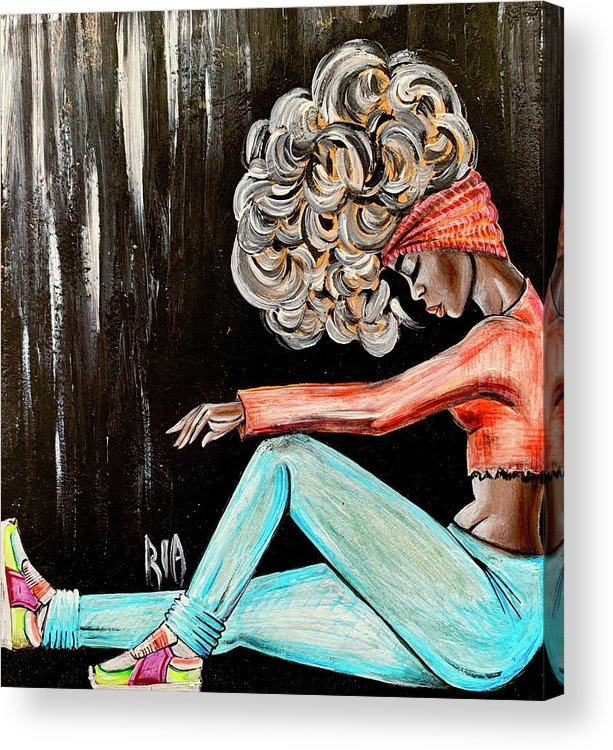 Black Art Acrylic Print featuring the painting I Just need to clear my head by Artist RiA