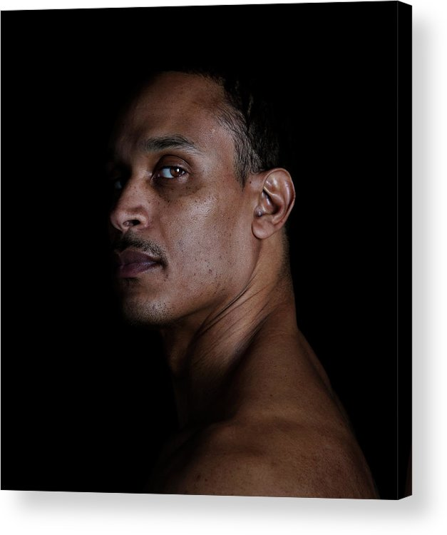 People Acrylic Print featuring the photograph Portrait Of A Man On A Black Background by Michael Duva