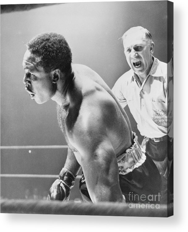 Mature Adult Acrylic Print featuring the photograph Referee Counting As Boxer Archie Moore by Bettmann