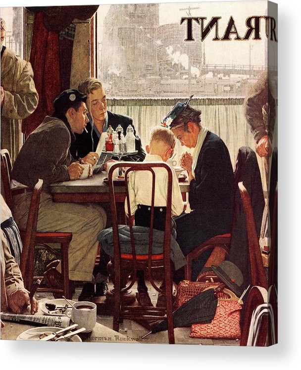 Eating Acrylic Print featuring the drawing Saying Grace by Norman Rockwell