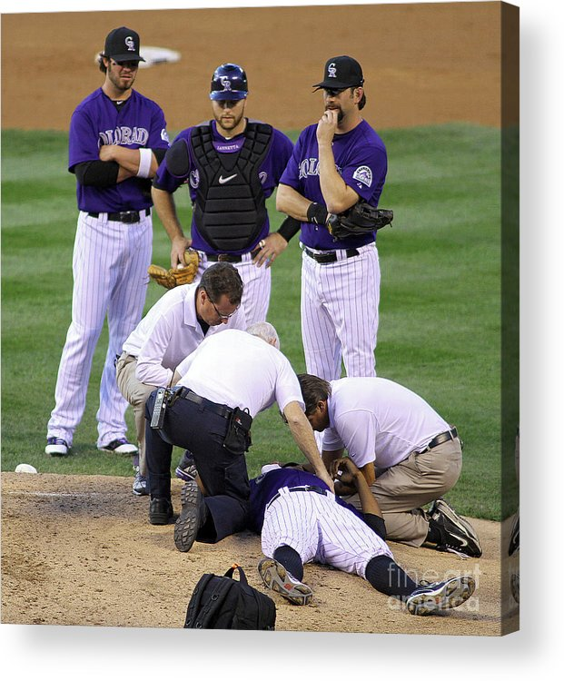 Sports Ball Acrylic Print featuring the photograph Washington Nationals V Colorado Rockies by Marc Piscotty