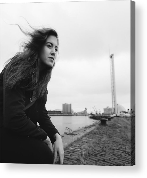 People Acrylic Print featuring the photograph Attractive Young Woman At Derelict Glasgow Docks by Theasis