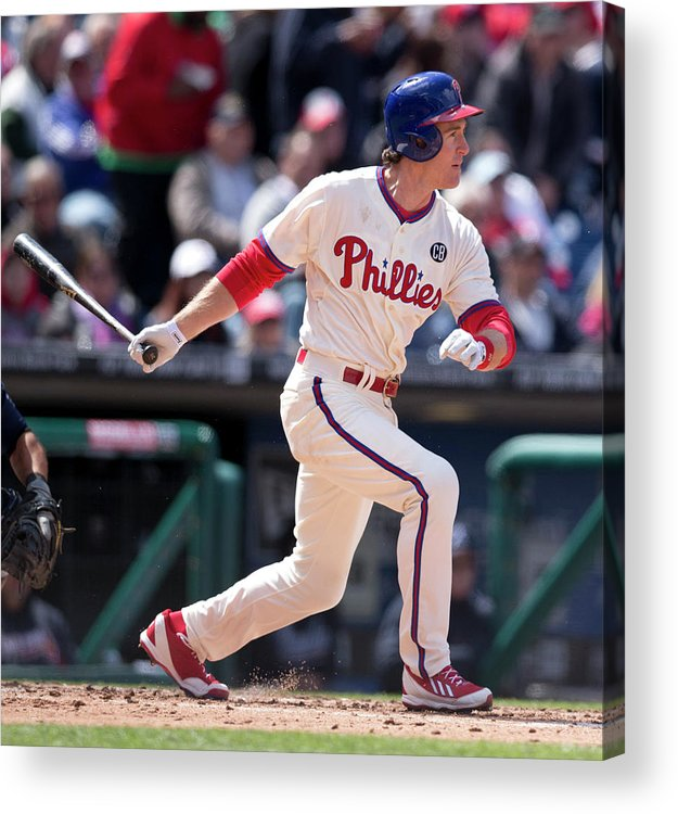 Citizens Bank Park Acrylic Print featuring the photograph Chase Utley by Mitchell Leff