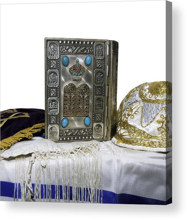 Education Acrylic Print featuring the photograph Antique Jewish Bible, Yarmulka & Tallis by JodiJacobson
