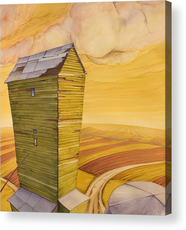 Great Plains Art Acrylic Print featuring the painting Grain Tower - II by Scott Kirby