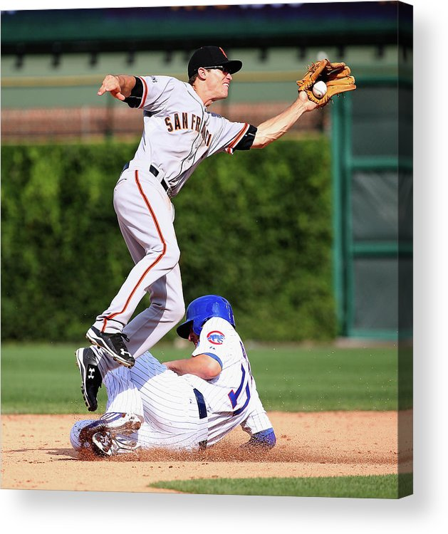 People Acrylic Print featuring the photograph Kelby Tomlinson And Kris Bryant by Jonathan Daniel