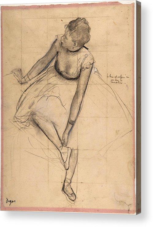 Edgar Degas Acrylic Print featuring the drawing Dancer Adjusting Her Slipper by Edgar Degas