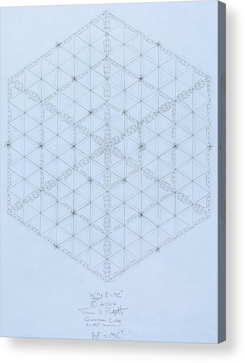 Energy Acrylic Print featuring the drawing Why Energy Equals Mass Times The Speed Of Light Squared by Jason Padgett