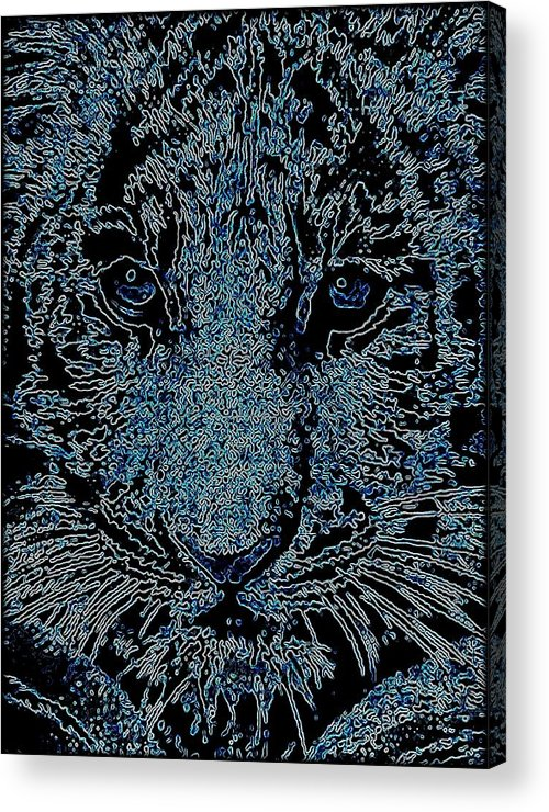 Big Cat Acrylic Print featuring the mixed media Blue Tiger by Wendie Busig-Kohn