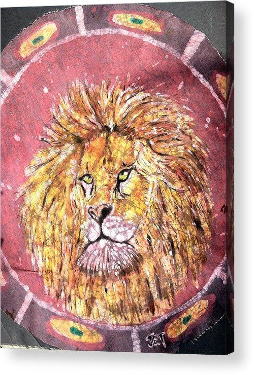 Batik Acrylic Print featuring the painting Lion by Jill Tsikerdanos