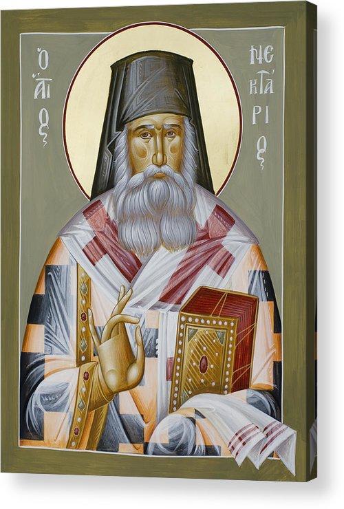 St Nektarios Of Aegina Acrylic Print featuring the painting St Nektarios Of Aegina by Julia Bridget Hayes