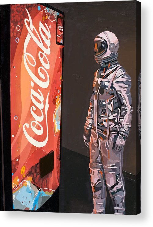 Astronaut Acrylic Print featuring the painting The Coke Machine by Scott Listfield
