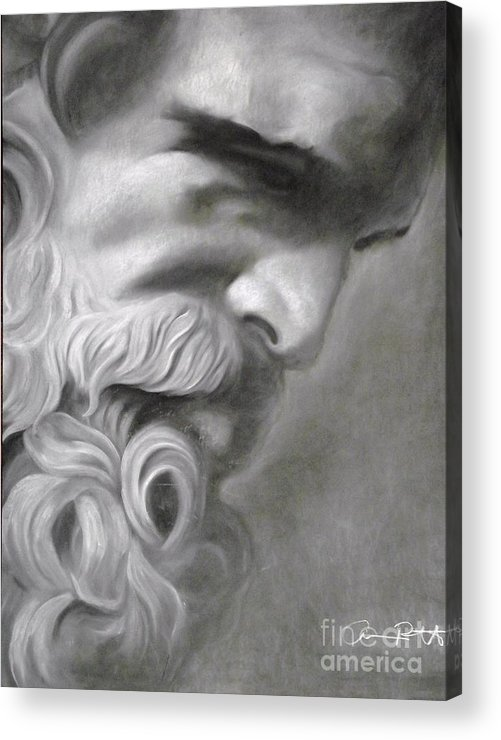 Zeus Acrylic Print featuring the drawing Zeus by Adrian Pickett