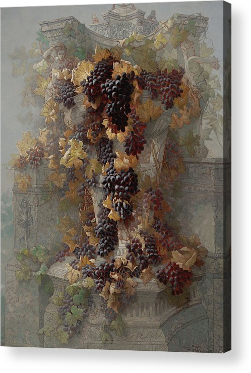 Grapes Acrylic Print featuring the painting Grapes And Architecture by Edwin Deakin