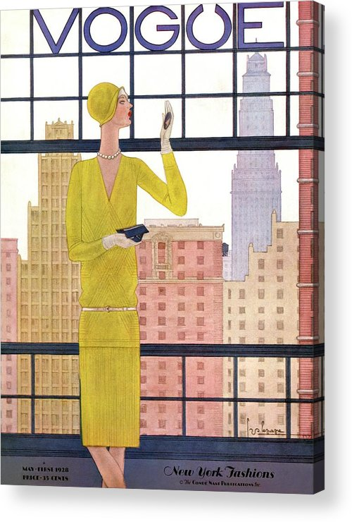 Cityscape Acrylic Print featuring the photograph A Vintage Vogue Magazine Cover Of A Woman by Georges Lepape